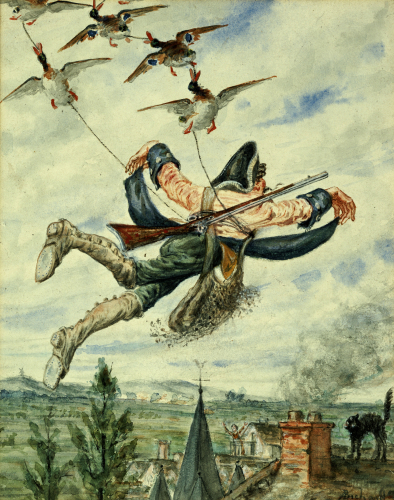Illustration For The Adventures Of Baron Munchausen (I) by Alphonse Adolf Bichard