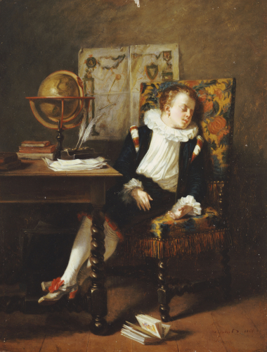 The Little Schoolboy, 1850 by Adolphe Francois Monfallet