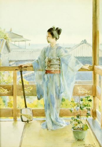 Geisha Standing On A Balcony, 1893 by Anton Alois Stern