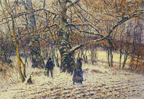 Figures In A Winter Landscape, 1892 by Theodor Von Hormann