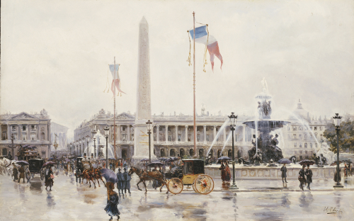 A View Of The Place De La Concorde, Paris by Ulpiano Checa Y Sanz