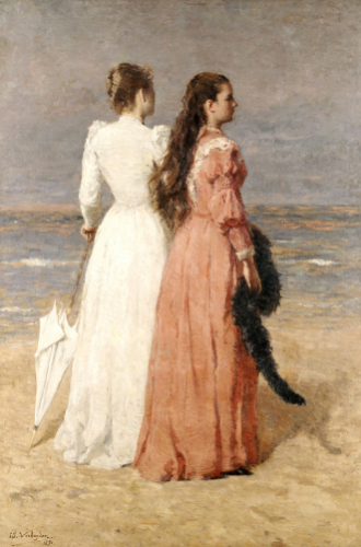 Elegant Women On A Beach, 1891 by Isidore Verheyden