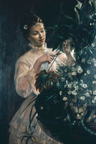 Arranging Flowers, 1887 by E. Blanc-Garin