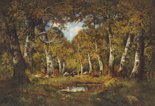 Wood Gatherer In A Clearing In A Wood by Camille Magnus