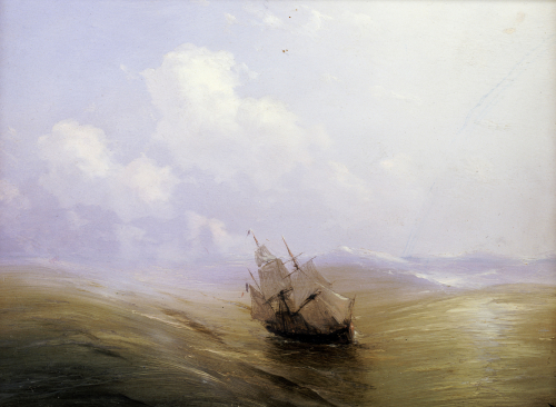 A Sailing Boat In A Heavy Swell, 1876 by Ivan Konstantinovich Aivazovsky
