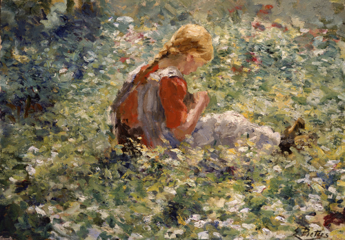 A Young Girl In A Flower Garden by Evert Pieters