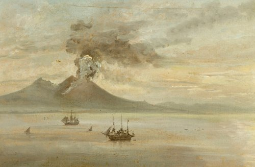 The Neapolitan Coast With Vesuvius Erupting by Johann Christian Clausen Dahl