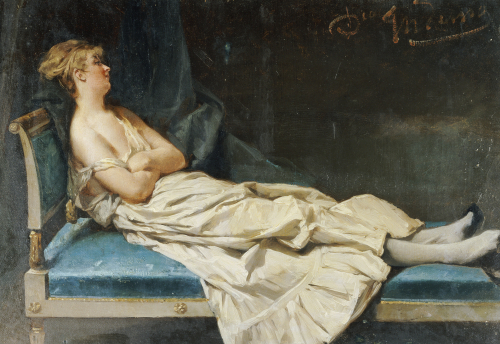 A Lady Reclining On A Chaise Longue by Domenico Induno