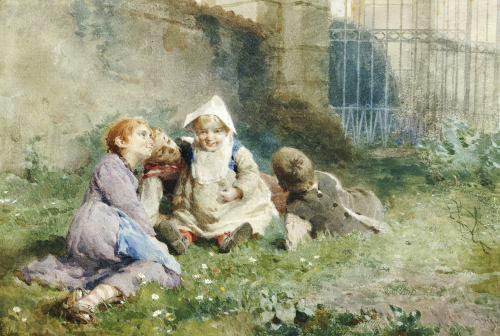 Children In A Garden by Luigi Rossi