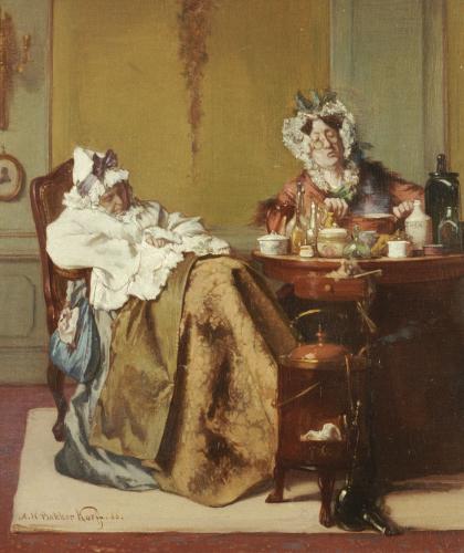 Making Medicine For The Ill Sister, 1866 by Alexander Hugo Bakker Korff