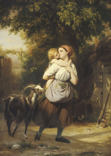 A Mother And Child With A Goat On A Path by Fritz Zuber-Buhler