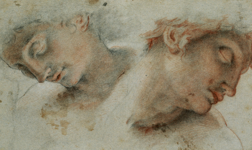 Two Studies Of A Head by Cristofano Roncalli