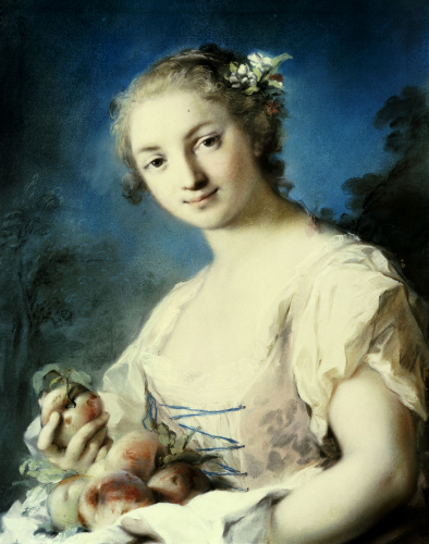 Summer: A Girl Holding Peaches by Rosalba Carriera