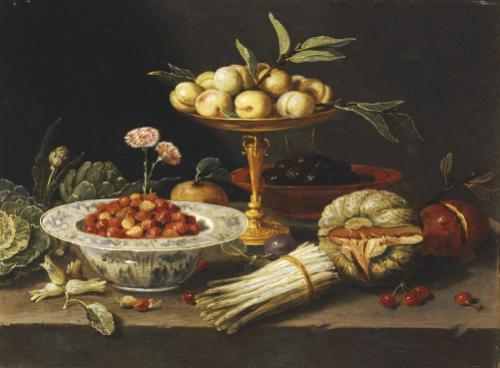 Wild Strawberries And Two Pinks In A 'Wanli Kraak Porselein' Bowl by Jan van Kessel