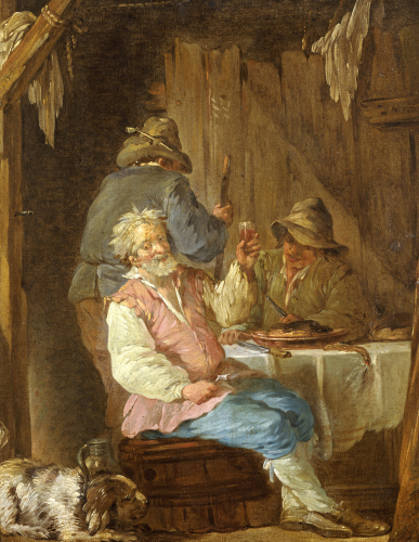 An Old Man Smoking by Jean-Jacques Durameau
