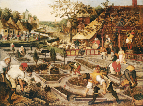 Spring: Gardeners, Sheep Shearers And Peasants Merrymaking by Pieter Brueghel The Younger