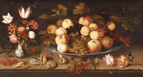 Fruit On A Dish, Flowers In A Wanli Kraak Porselein Vase, 1626 by Balthasar van der Ast