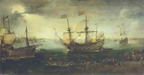3 Master Firing A Saluted On The Maas At Dordrecht by Cornelis Claesz Van Wieringen