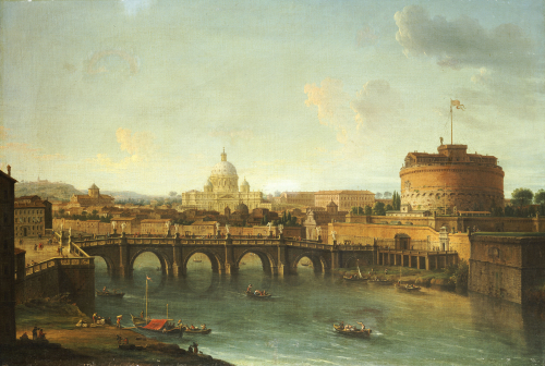 Castel Santangelo And The Ponte Santangelo, Rome, With St. Peters And The Vatican by Antonio Joli