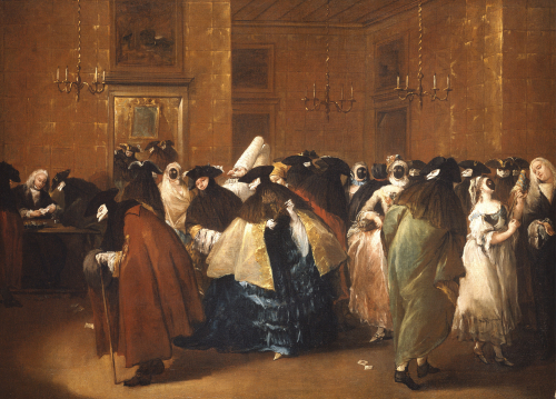 Ladies And Gentlemen In Carnival Costume In The Ridotto, Venice by Francesco Guardi