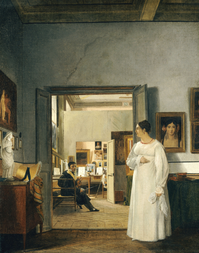 The Atelier Of Ingres In Rome, 1818 (I) by Jean Alaux