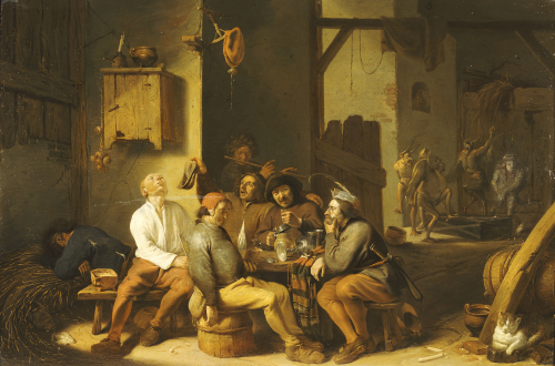 Peasants Smoking And Drinking In A Barn With Devils Dancing Beyond, 1635 by Cornelis Saftleven