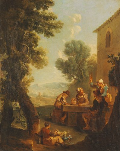 Peasants Drinking By A Farmhouse by Paolo Monaldi