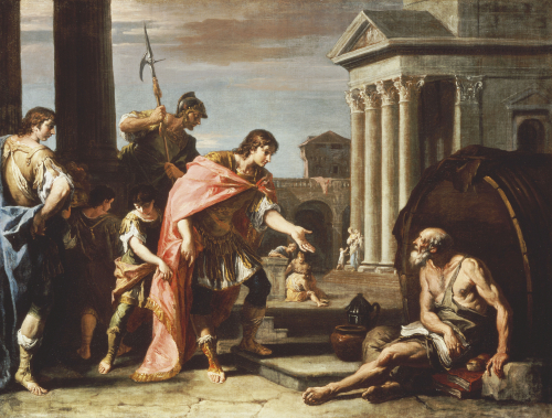 Alexander And Diogenes by Sebastiano Ricci