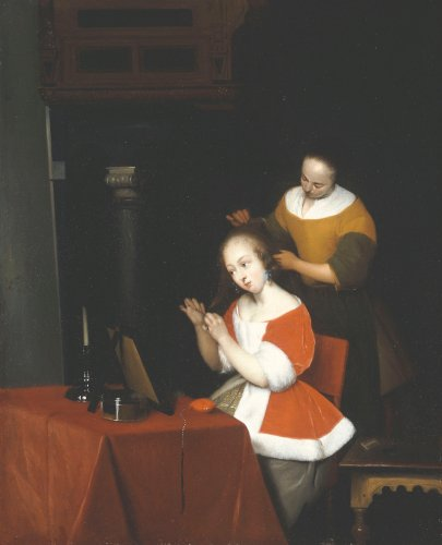 A Young Lady Having Her Hair Combed By A Maid by Christie's Images