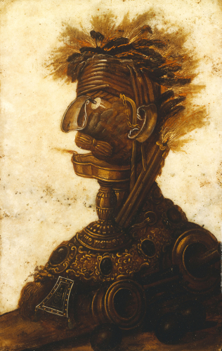 Anthropomorphic Heads Representing One Of The Four Elements - Fire by Giuseppe Arcimboldo