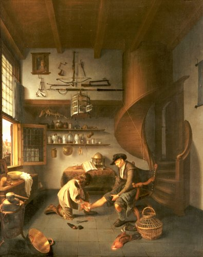 A Barber Surgeon Tending A Peasant's Foot, C. 1650 by Isaack Koedijck