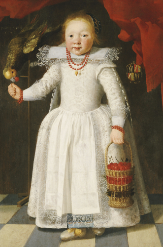 A Young Girl Holding A Basket Of Cherries With A Parrot On A Perch by Christie's Images