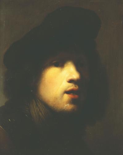 Rembrandt Portrait Wearing Black Beret by Rembrandt