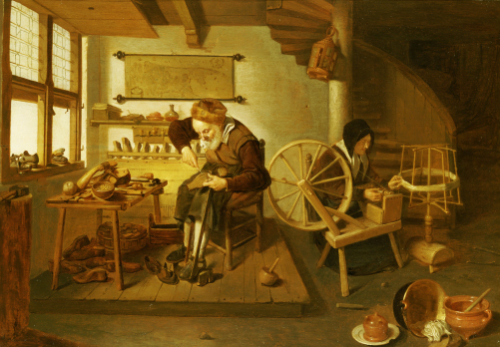 The Interior Of A Cobbler's Shop. Gerritsz, 1653 by Quiringh Van Brekelenkam
