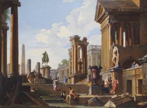 Capriccio Of Classical Ruins With A Statue Of Marcus Aurelius by Giovanni Paolo Panini
