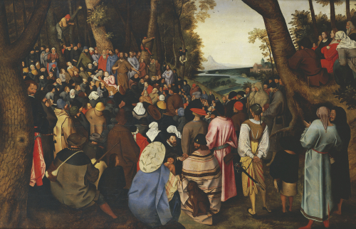 Saint John The Baptist Preaching The Baptism Of Christ Beyond by Pieter Brueghel The Younger