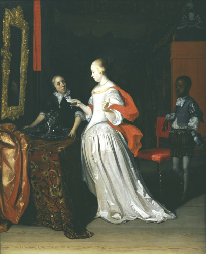 A Lady Holding A Letter Attended By A Negro Page by Eglon Hendrick Van Der Neer