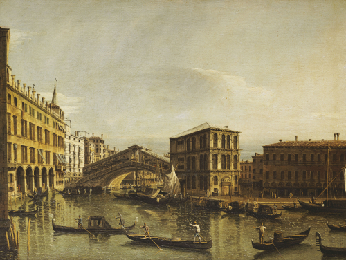 The Grand Canal, Venice With The Fondaco Dei Tedeschi by Bernardo Bellotto