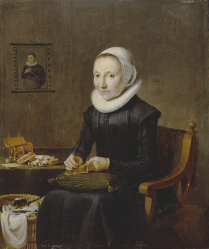 Portrait Of An Old Lady, Aged 54, Embroidering, Dutch School, C. 1650 by Christie's Images