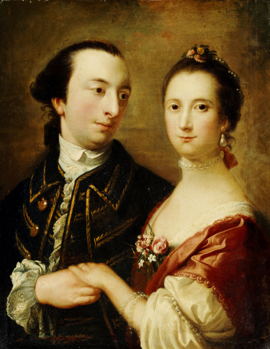 A Double Portrait Of A Lady And A Gentleman by English School