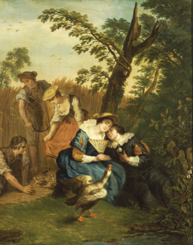 A Courting Couple Beneath A Tree With A Greylag Goose by Jan Josef Horemans The Younger
