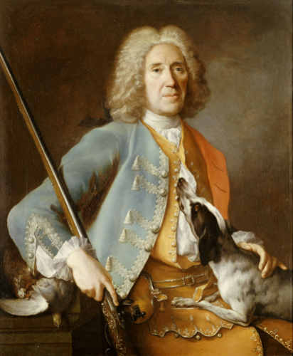 Portrait Of A Sportsman Holding A Gun With A Hound by Christie's Images