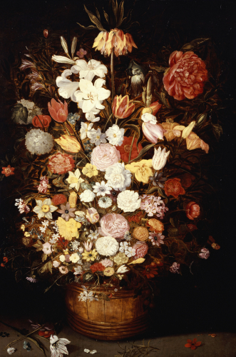 A Crown Imperial, A Peony And Other Flowers In A Wooden Tub by Jan Bruegel The Younger