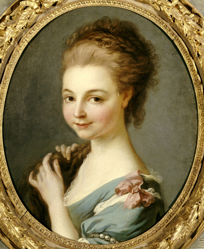 A Girl Bust Length In A Blue Dress With A Pink Ribbon by Christie's Images
