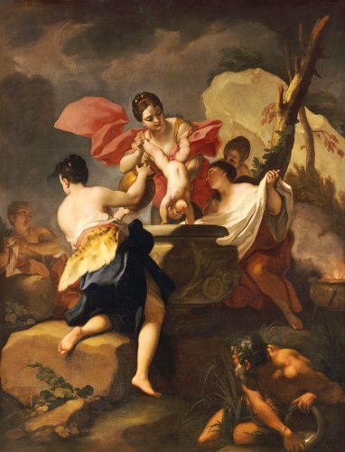 Thetis Dipping The Infant Achilles Into Water From The Styx by Antonio Balestra
