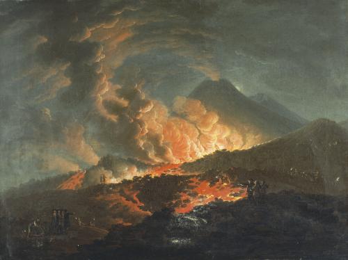 Vesuvius Erupting at Night by Jacques Antoine Volaire