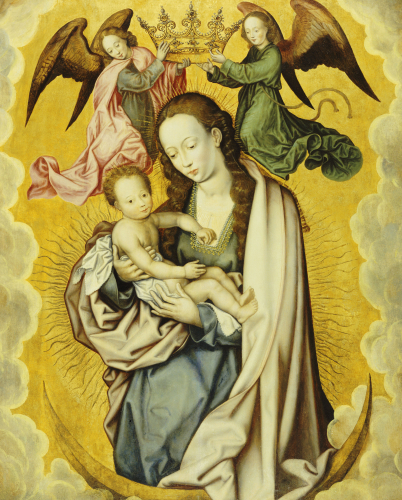 The Virgin And Child In Glory, With Two Angels Holding The Virgin's Crown by Christie's Images