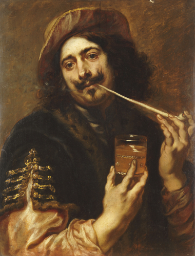 Portrait Of Man Smoking Pipe With A Glass Of Wine by Jan Boeckhorst