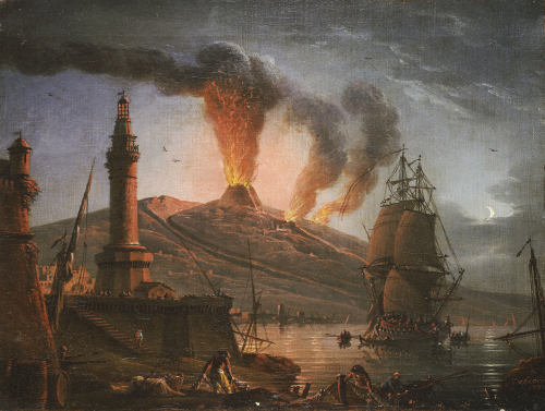 Eruption Of Vesuvius At Night With Fishermen Unloading Their Nets, 1781 by Charles-Francois Grenier De La Croix