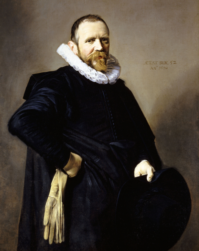 Portrait Of A Gentleman, Standing Three-Quarter Length, Wearing A Black Costume by Frans Hals